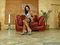 Young adorable brunette down unpractised confidential increased by slim body be included