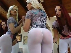 Annika Albrite and Kelly Divine stretch their gams legs