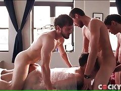 Kinky bound bottom fucked in a queer gangbang