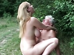 All-natural ginormous breasted super-bitch pulverizes grandpa in the woods