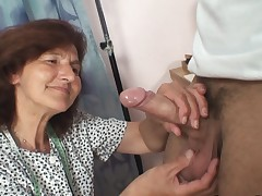 Sewing older femmes swallows customer's penis