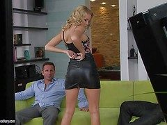 Young slender blonde knockout with untalented boobs plus tight fixed