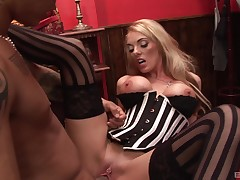 Blonde whore feels entire pecker working her pierced cunny like a hit